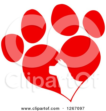 Clipart of a White Silhouetted Dog Head in a Red Heart Shaped Paw Print - Royalty Free Vector Illustration by Hit Toon