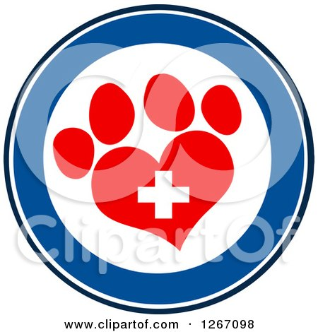 Clipart of a Blue and White Circle of a Red Heart Shaped Paw Print and Veterinary Cross - Royalty Free Vector Illustration by Hit Toon