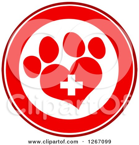 Clipart of a Red and White Circle of a Heart Shaped Paw Print and Veterinary Cross - Royalty Free Vector Illustration by Hit Toon
