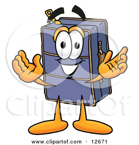 Clipart Picture of a Suitcase Cartoon Character With Welcoming Open Arms by Toons4Biz
