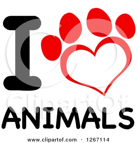 red and white heart shaped paw print with i love animals billiard clip art free billiard clipart svg