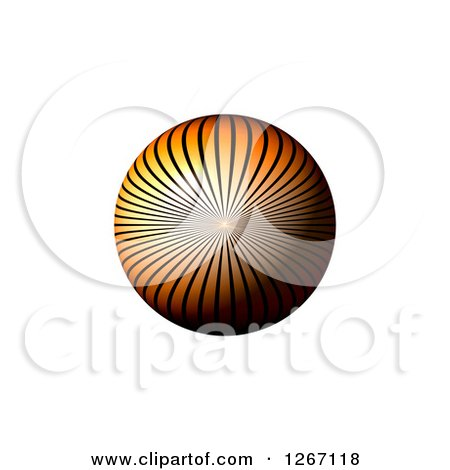 Clipart of a 3d Orange Ray Sphere on White - Royalty Free Illustration by oboy