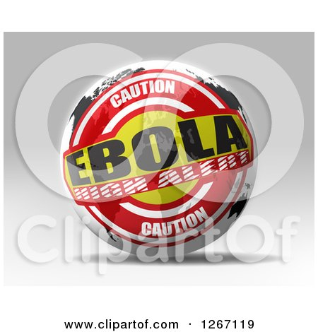 Clipart of a 3d Caution Ebola High Alert World Map Sphere - Royalty Free Illustration by MacX