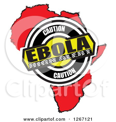 Clipart of a Red African Map with Caution Ebola High Alert - Royalty Free Illustration by MacX