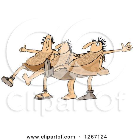 Clipart of Cavemen Dancing the Can Can - Royalty Free Vector Illustration by djart
