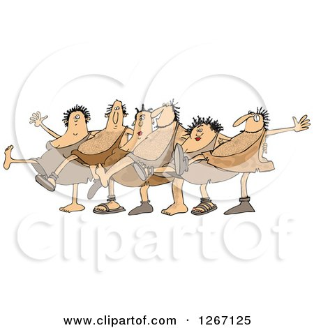 Clipart of Cavemen and Women Dancing the Can Can - Royalty Free Vector Illustration by djart