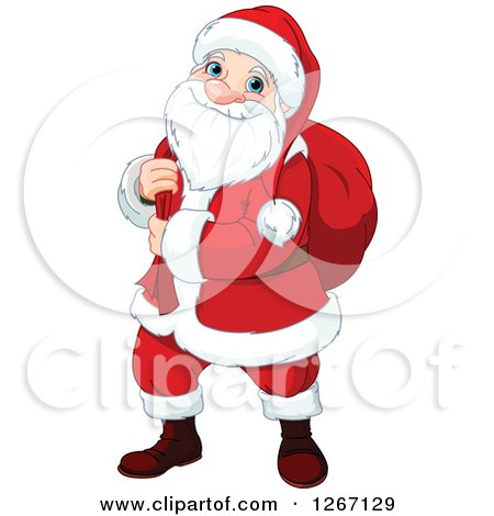 Clipart of a Happy Christmas Santa Claus Carrying a Sack over His Shoulder - Royalty Free Vector Illustration by Pushkin