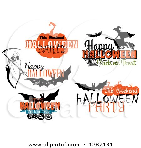Clipart of Festive Halloween Designs - Royalty Free Vector Illustration by Vector Tradition SM