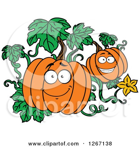 Clipart of Happy Halloween Pumpkins on the Vine - Royalty Free Vector Illustration by Vector Tradition SM