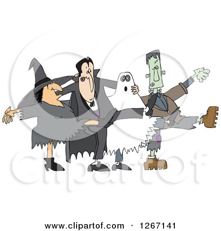 Clipart of a Halloween Witch, Dracula Vampire, Ghost and Frankenstine Dancing the Can Can - Royalty Free Vector Illustration by djart
