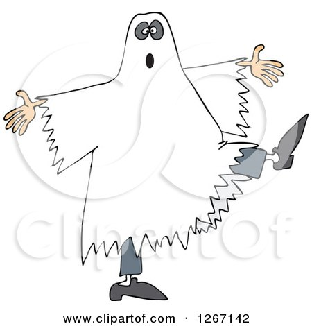 Clipart of a Halloween Ghost Dancing - Royalty Free Vector Illustration by djart