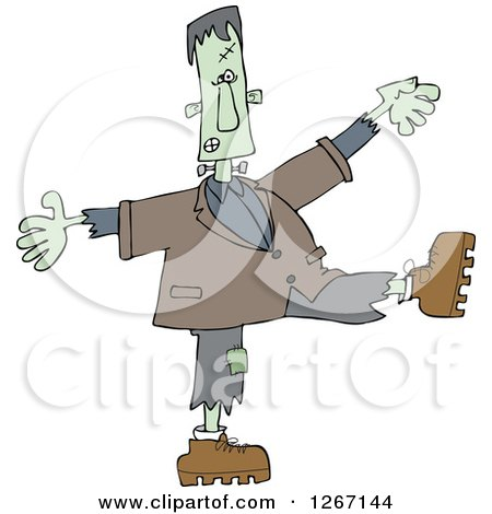 Clipart of a Halloween Frankenstein Dancing - Royalty Free Vector Illustration by djart