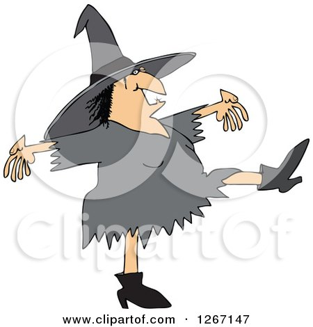 Clipart of a Chubby Halloween Witch Dancing - Royalty Free Vector Illustration by djart