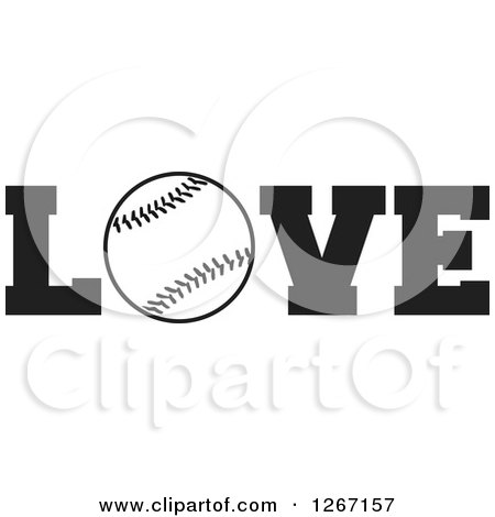 Clipart of a Black and White Baseball As the Letter O in the Word LOVE - Royalty Free Vector Illustration by Johnny Sajem