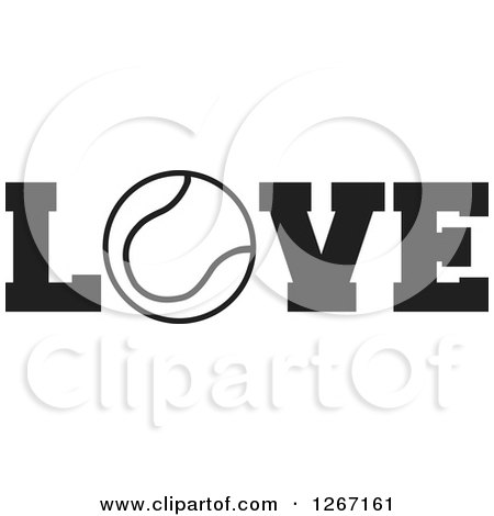 Clipart of a Black and White Tennis Ball As the Letter O in the Word LOVE - Royalty Free Vector Illustration by Johnny Sajem