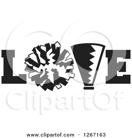 Clipart of a Black and White Megaphone and Cheerleading Pom Pom in LOVE - Royalty Free Vector Illustration by Johnny Sajem