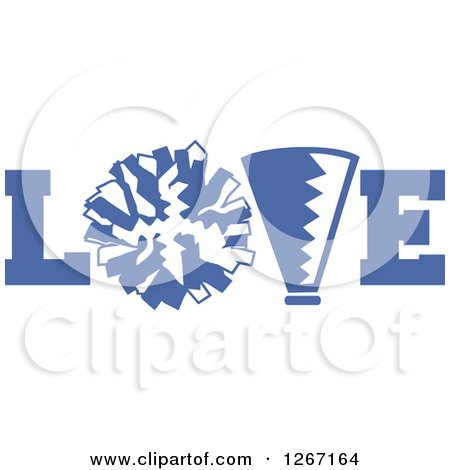 Clipart of a Blue and White Megaphone and Cheerleading Pom Pom in LOVE - Royalty Free Vector Illustration by Johnny Sajem