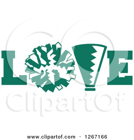 Clipart of a Green and White Megaphone and Cheerleading Pom Pom in LOVE - Royalty Free Vector Illustration by Johnny Sajem