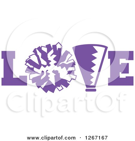 Clipart of a Purple and White Megaphone and Cheerleading Pom Pom in LOVE - Royalty Free Vector Illustration by Johnny Sajem