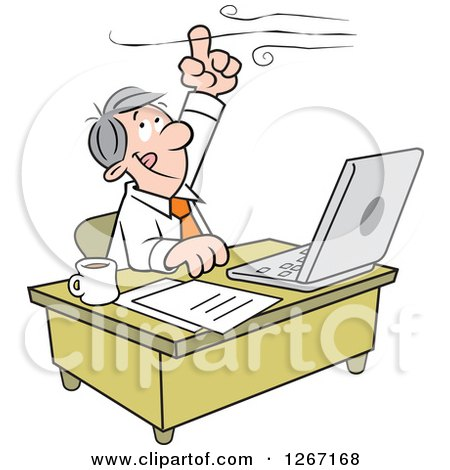 Caucasian Businessman Working at His Desk and Holding His Finger up to the Wind Posters, Art Prints