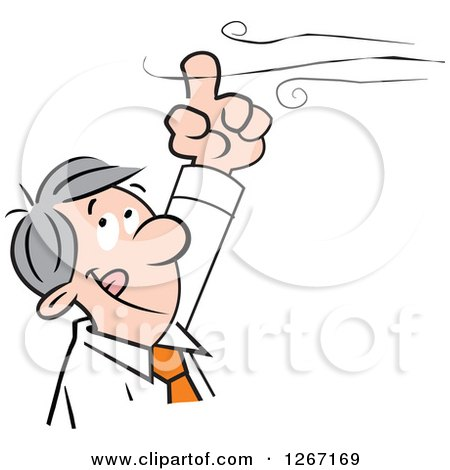 Clipart of a Caucasian Businessman Holding His Finger up to the Wind - Royalty Free Vector Illustration by Johnny Sajem
