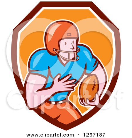Clipart of a Cartoon White Male American Football Player in a Maroon White and Orange Shield - Royalty Free Vector Illustration by patrimonio