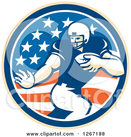 Clipart Of A Retro Football Player In An American Flag Circle Royalty Free Vector Illustration