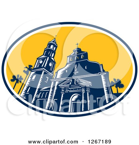 Clipart of a Retro Woodcut Scene of the Cathedral Basilica of St Augustine, Florida, USA - Royalty Free Vector Illustration by patrimonio
