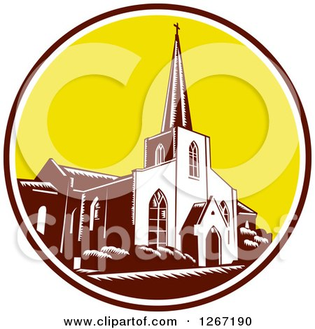 Clipart of a Retro Woodcut Scene of the Trinity Parish Church in St Augustine, Florida, USA - Royalty Free Vector Illustration by patrimonio