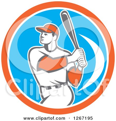 Clipart of a Retro White Male Baseball Player Batting Inside an Orange White and Blue Circle - Royalty Free Vector Illustration by patrimonio