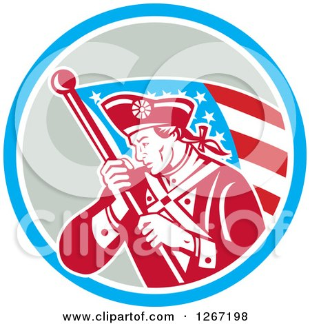 Clipart of a Retro Revolutionary Soldier with an American Flag in a Blue White and Gray Circle - Royalty Free Vector Illustration by patrimonio