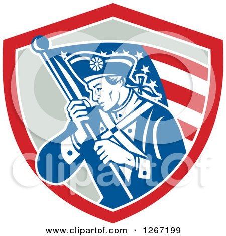 Clipart of a Retro Blue and White Revolutionary Soldier with an American Flag in a Red and Gray Shield - Royalty Free Vector Illustration by patrimonio