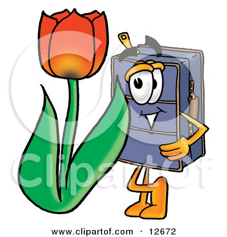 Clipart Picture of a Suitcase Cartoon Character With a Red Tulip Flower in the Spring by Toons4Biz