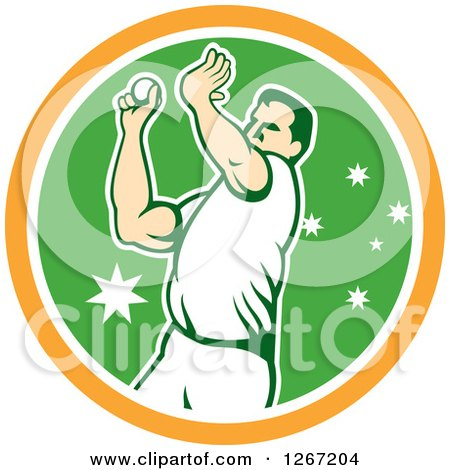 Clipart of a Retro Male Cricket Player Fast Bowler Throwing a Ball in an Orange White and Green Circle - Royalty Free Vector Illustration by patrimonio