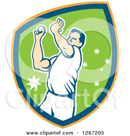 Clipart of a Retro Male Cricket Player Fast Bowler Throwing a Ball in an Orange Blue and Green Shield - Royalty Free Vector Illustration by patrimonio