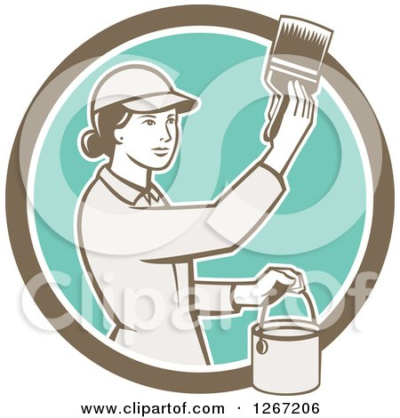 Clipart of a Retro Female House Painter Using a Brush in a Brown White and Turquoise Circle - Royalty Free Vector Illustration by patrimonio