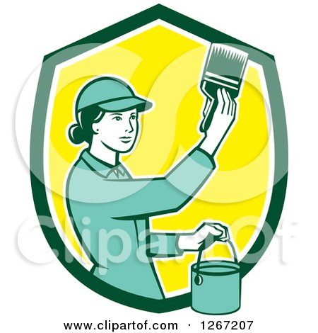 Clipart of a Retro Female House Painter Using a Brush in a Green White and Yellow Shield - Royalty Free Vector Illustration by patrimonio