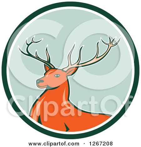 Clipart of a Retro Buck Deer in a Green and White Circle - Royalty Free Vector Illustration by patrimonio