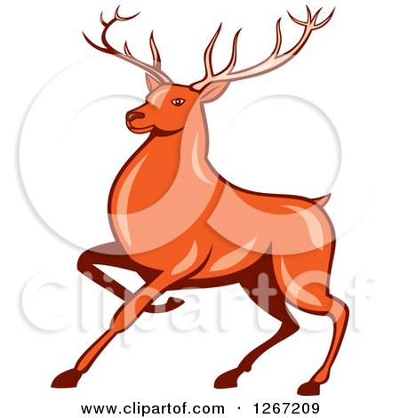 Clipart of a Retro Styled Cartoon of a Marching Deer - Royalty Free Vector Illustration by patrimonio