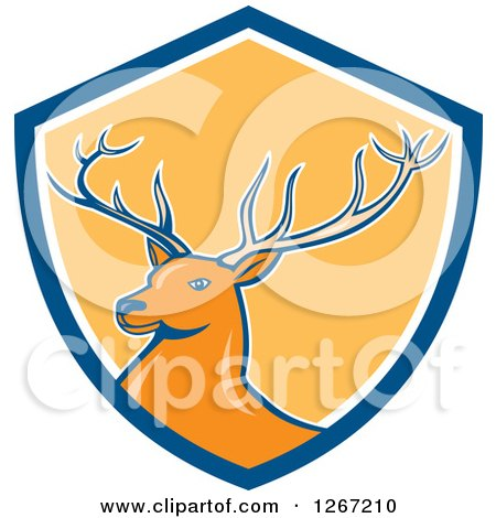 Clipart of a Retro Buck Deer in a Blue White and Yellow Shield - Royalty Free Vector Illustration by patrimonio