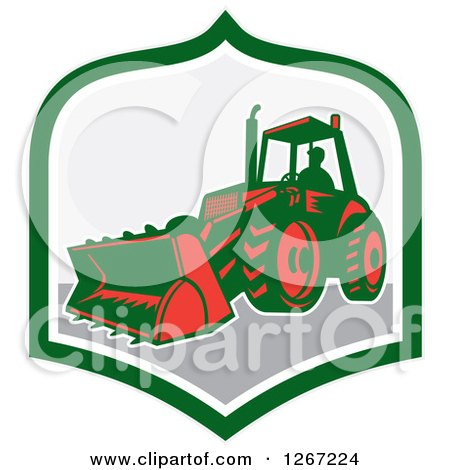 Retro Man Operating an Excavator Machine in a Green White and Gray Shield Posters, Art Prints