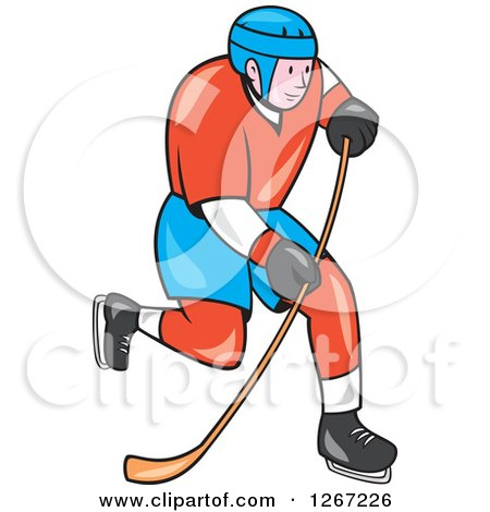 Clipart of a Cartoon White Male Hockey Player Skating - Royalty Free Vector Illustration by patrimonio