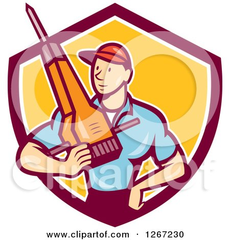 Clipart of a Cartoon White Male Construction Worker Holding a Jackhammer in a Maroon White and Yellow Shield - Royalty Free Vector Illustration by patrimonio