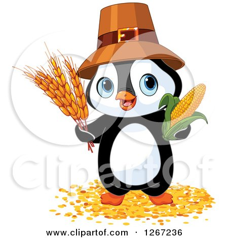 Clipart of a Cute Thanksgiving Pilgrim Penguin with Harvest Wheat and Corn - Royalty Free Vector Illustration by Pushkin