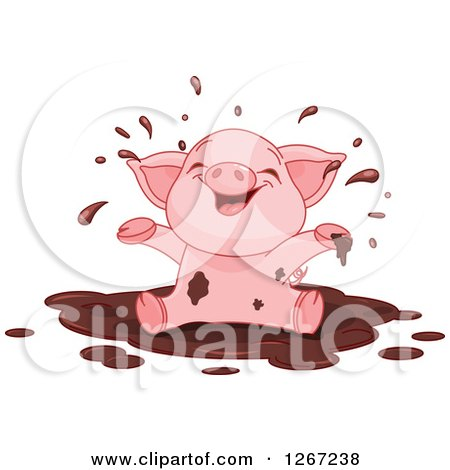 Clipart of a Cute Baby Piglet Playing in a Mud Puddle - Royalty Free Vector Illustration by Pushkin