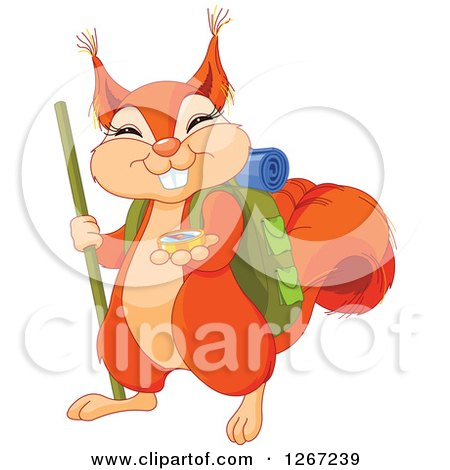Clipart of a Cute Squirrel Hiker with a Compass - Royalty Free Vector Illustration by Pushkin