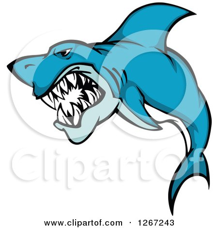 Clipart of a Vicious Attacking Blue and White Shark - Royalty Free Vector Illustration by Vector Tradition SM