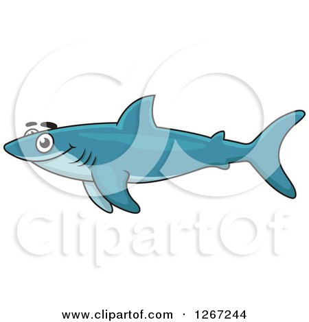 Clipart of a Happy Swimming Blue Shark - Royalty Free Vector Illustration by Vector Tradition SM