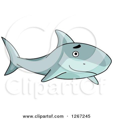Clipart of a Happy Swimming Shark - Royalty Free Vector Illustration by Vector Tradition SM
