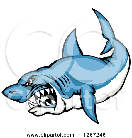 Clipart of a Mad Vicious Blue and White Shark - Royalty Free Vector Illustration by Vector Tradition SM